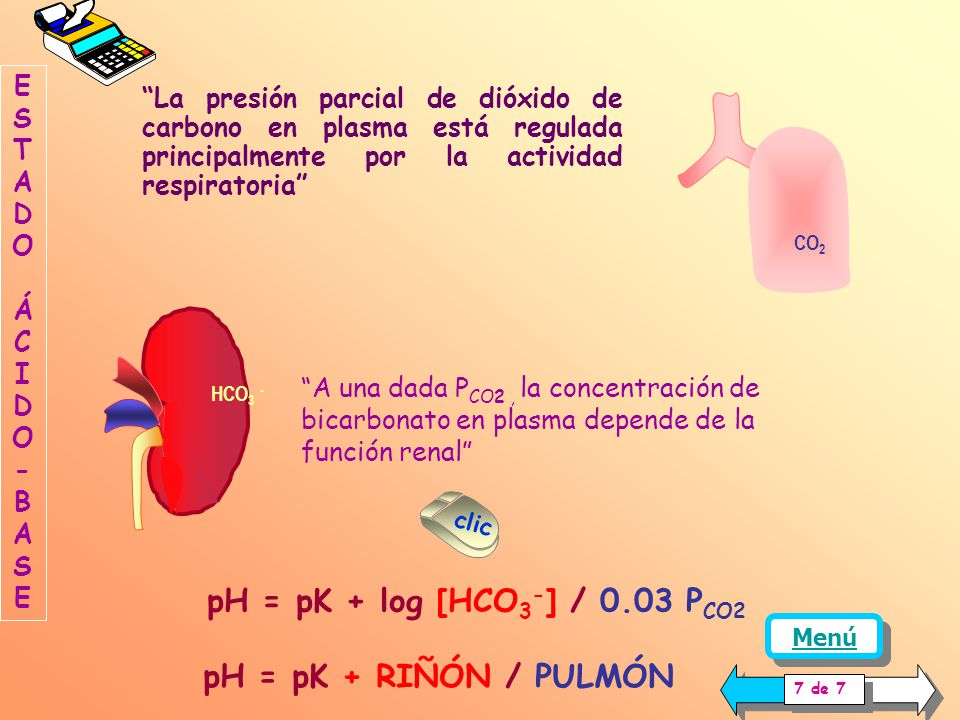 pH = pK + log [HCO3-] / 0.03 PCO2 pH = pK + RIÑÓN / PULMÓN
